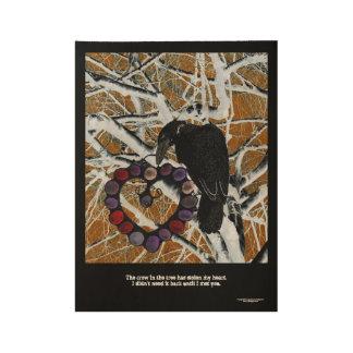 Póster De Madera El cuervo en el árbol tiene mi corazón