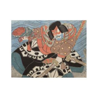 Póster De Madera Guerrero japonés del vintage del samurai