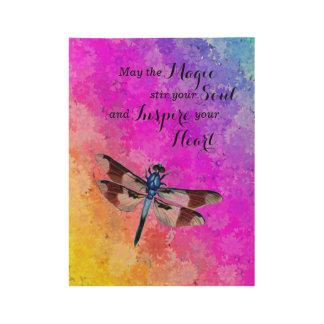 Póster De Madera La libélula, margaritas en los colores w/Magic del