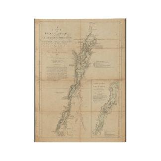 Póster De Madera Lago Champlain y mapa histórico 1762 de George del