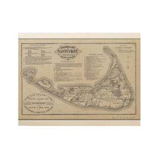 Póster De Madera Mapa histórico del arte de la pared de Nantucket