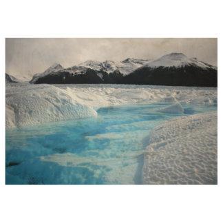 Póster De Madera Montañas de la Patagonia del glaciar de la