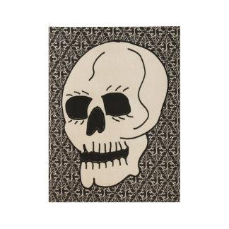 Póster De Madera Ojos morados blancos grandes del cráneo en modelo