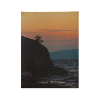Póster De Madera Pasteles de cabeza llana de la puesta del sol de