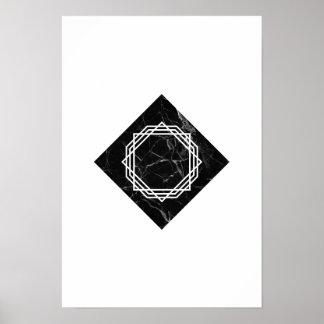 Poster de mármol negro geométrico póster