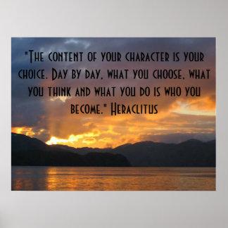 Poster de motivación con cita de Heraclitus Póster