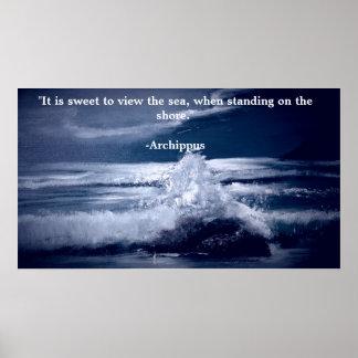 Poster de motivación con paisaje marino póster