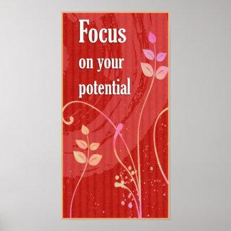 Poster de motivación de la actitud Foco-Positiva Póster