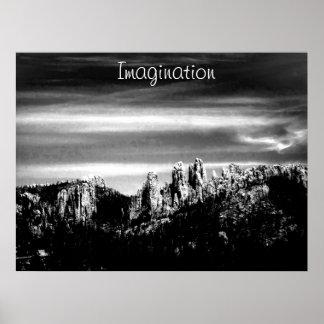 Poster de motivación de la imaginación en b/w