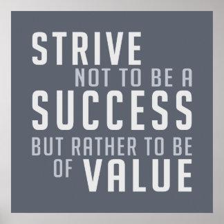Poster de motivación del éxito y del valor