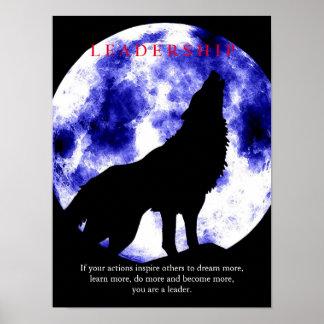 Poster de motivación del lobo de la dirección de póster