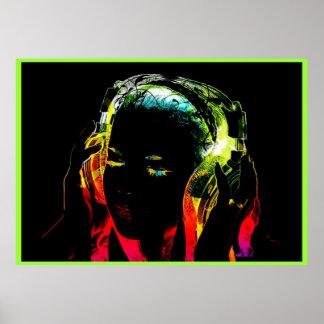 poster de neón del gráfico del chica de DJ Póster