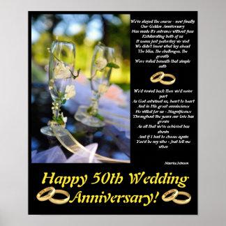 Poster de oro del aniversario póster