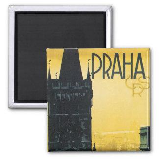 Poster de Praga del vintage Imán Cuadrado