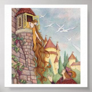 Poster de Rapunzel del estilo del vintage