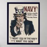 Poster de reclutamiento de la marina de guerra WW1