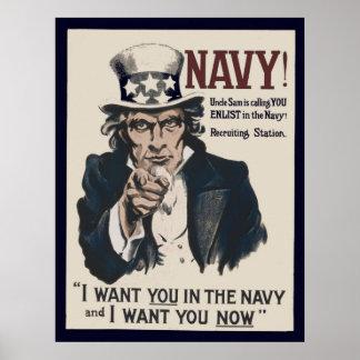 Poster de reclutamiento de la marina de guerra WW1 Póster