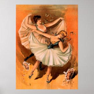 Poster de teatro del vintage de dos bailarinas póster