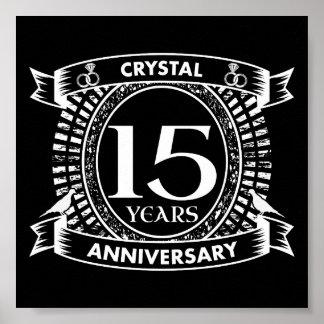 Póster décimo quinto aniversario de boda blanco y negro
