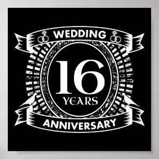 Póster décimosexto aniversario de boda blanco y negro