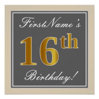 Póster Décimosexto cumpleaños del oro elegante, gris,