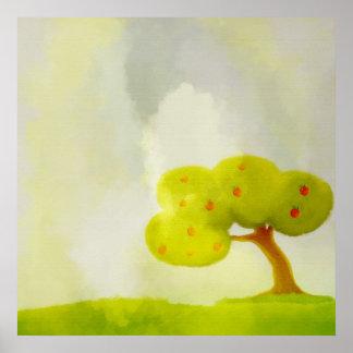 poster decorativo verde del manzano