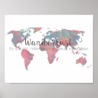 Póster Definición del Wanderlust en mapa del mundo de la