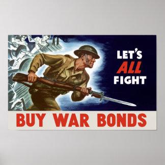 Póster ¡Déjenos toda la lucha! Compre enlaces de guerra