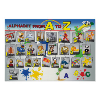 Poster del alfabeto de la gramática inglesa póster
