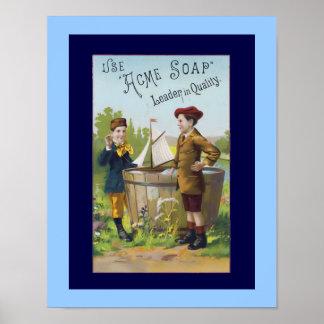 Poster del anuncio del jabón del arte del vintage