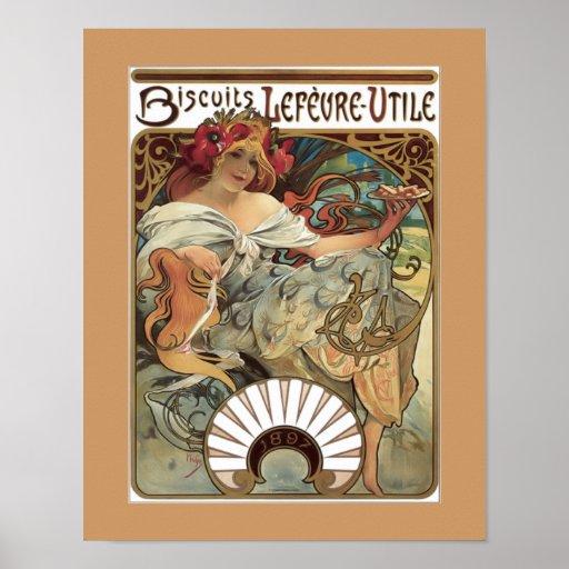 Poster del anuncio del vintage de las galletas de