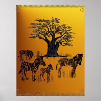 Poster del árbol de la cebra y del baobab