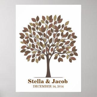 Poster del árbol de la firma del boda - Brown natu Póster