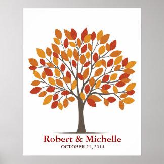 Poster del árbol de la firma del boda - Caída-MED  Póster