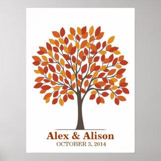 Poster del árbol de la firma del boda - caída natu póster