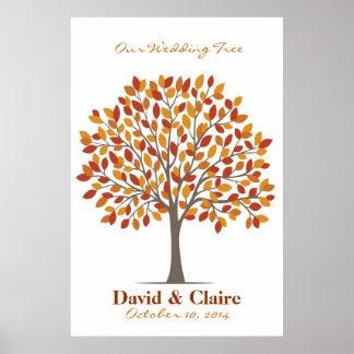Poster del árbol de la firma del boda - Caída-XL n Póster