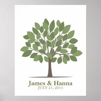Poster del árbol de la firma del boda - Verde-SM n Póster
