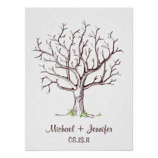 Poster del árbol de la huella dactilar del boda póster