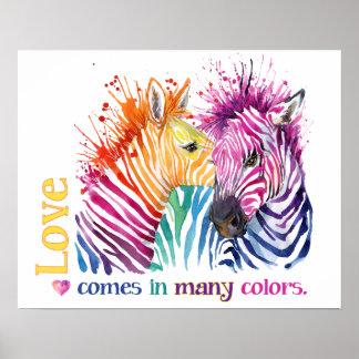 Poster del arco iris de la cebra póster