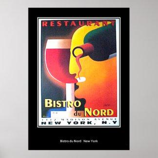 Poster del art déco de Restaurant Bistro Du Nord N Póster