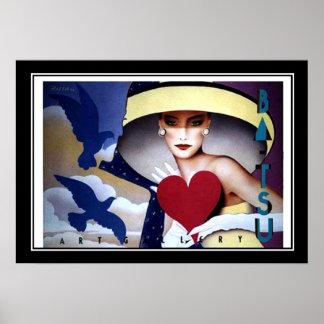 Poster del art déco del corazón de la mujer póster