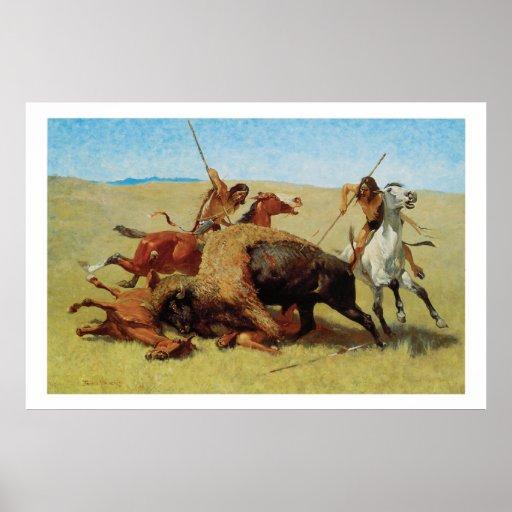 Poster del arte de la caza del búfalo de indios de