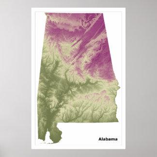 Poster del arte de la pared de Alabama, verde a la
