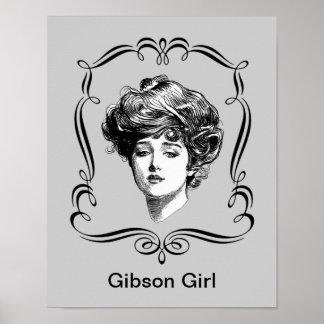 Poster del arte del chica de Gibson del vintage