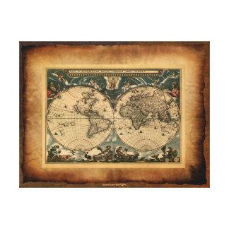 Poster del arte del mapa de Viejo Mundo Impresiones En Lona