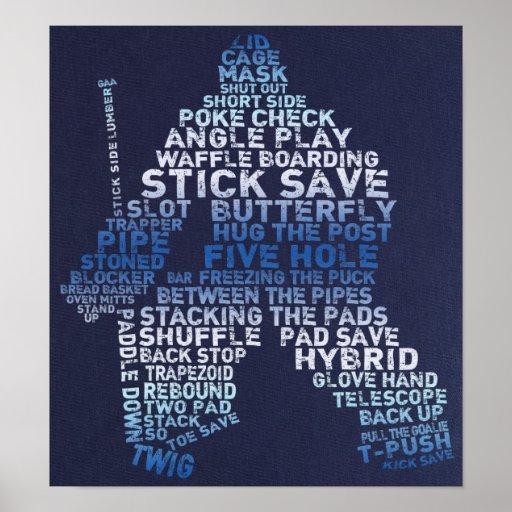 Poster del arte del texto del portero del hockey