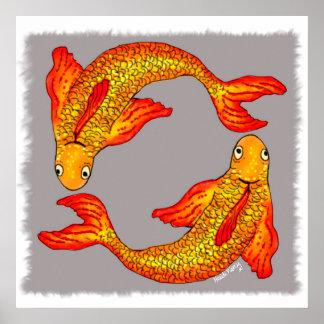 Poster del arte del zodiaco de los pescados de