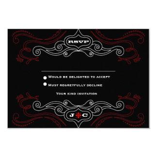 Poster del boda del rock-and-roll (negro/rojo) invitación 8,9 x 12,7 cm