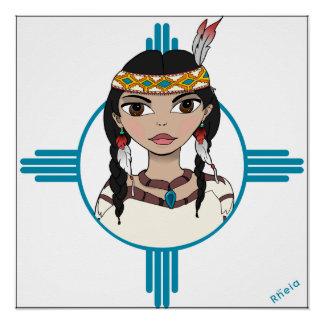 Poster del chica del nativo americano, 20x20, azul