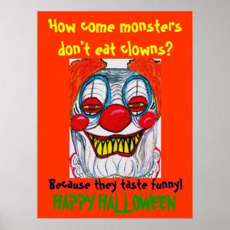 Poster del chiste del DEMONIO del PAYASO de HALLOW